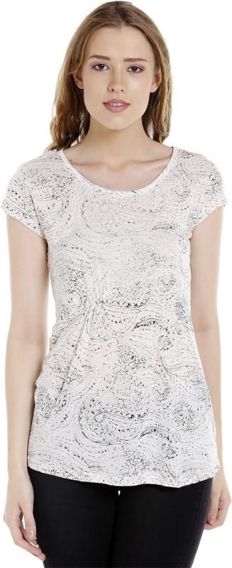 Spykar Printed Womens Round Neck Beige T-Shirt