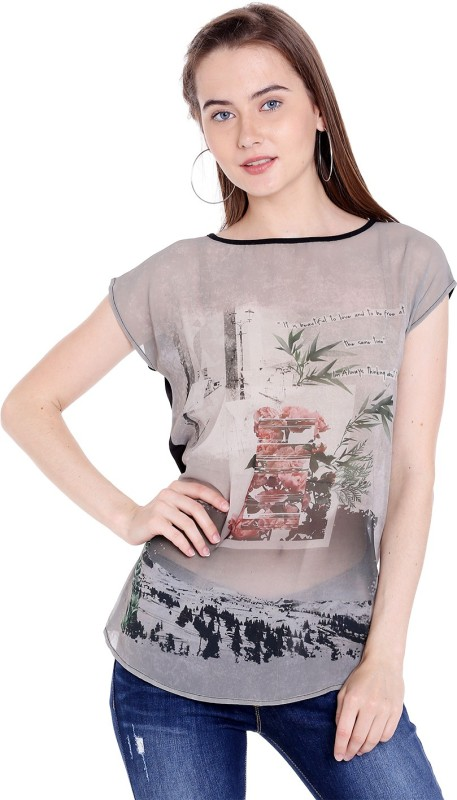 Spykar Printed Womens Round Neck Black T-Shirt