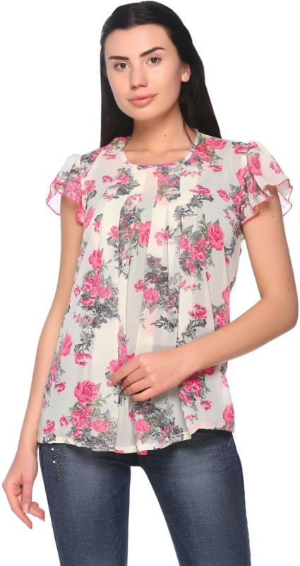100 hands Casual Shoulder Strap Floral Print Womens Multicolor Top
