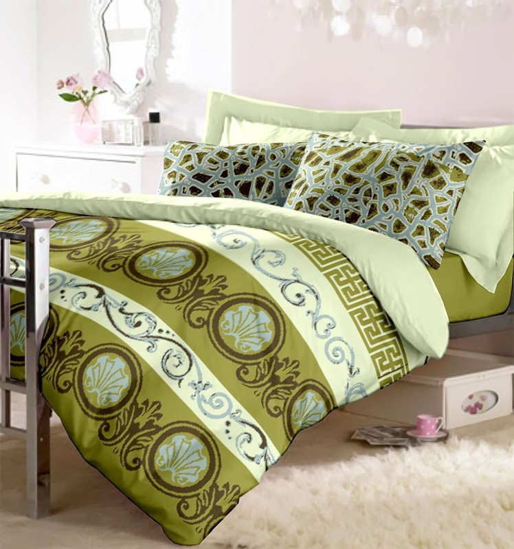 RAYMOND HOME Cotton Double King Printed Bedsheet(1 Bedsheet with 2 Pillow Covers, Green)