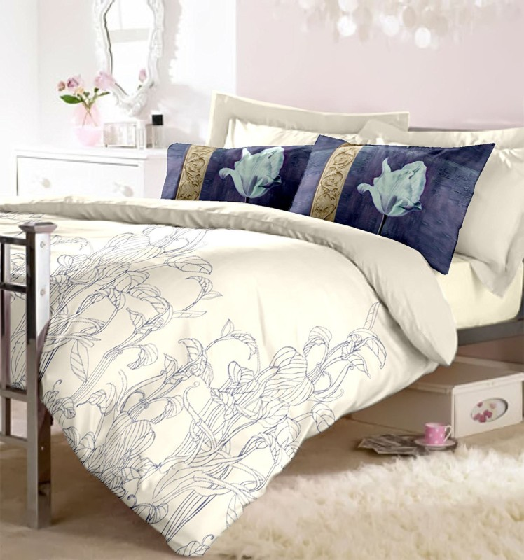 RAYMOND HOME Cotton Double King Printed Bedsheet(1 Bedsheet with 2 Pillow Covers, Blue)