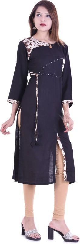 Chichi Self Design Women's Straight Kurta(Dark Blue)