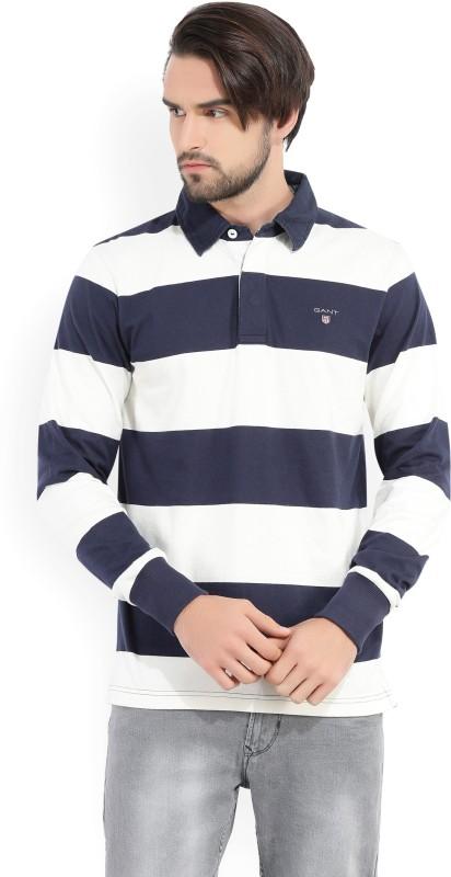 Gant Striped Mens Polo Neck White, Dark Blue T-Shirt