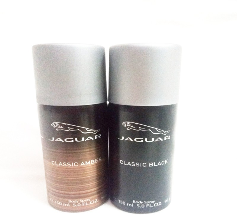 Jaguar CLASSIC AMBER AND CLASSIC BLACK Body Spray - For Men(300 ml, Pack of 2)