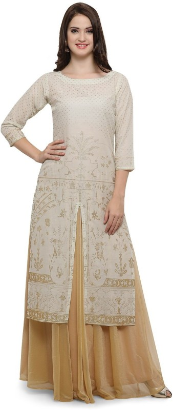 Ahalyaa Women Self Design Frontslit Kurta(White)