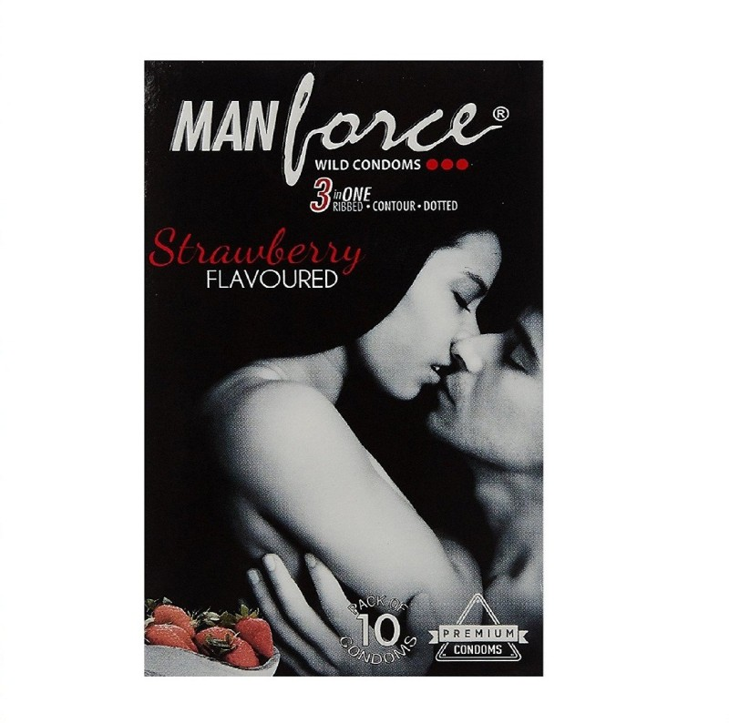 Manforce 3 in 1 Wild Ribbed Contour Dotted Condoms - (Strawberry, Pack of 10) Condom(Set of 10, 10S)