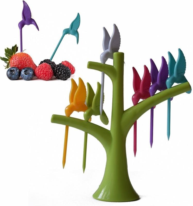 Divinext Valam Plastic Fruit Fork Set, 6-Pieces with stand, Multicolour Plastic Fruit Fork Set(Pack of 6)