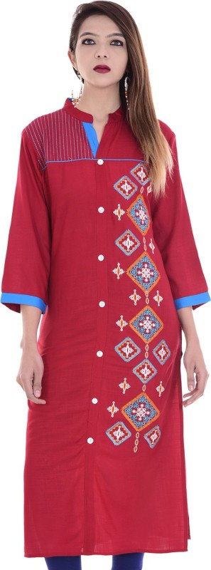 Chichi Embroidered Women's Straight Kurta(Maroon)