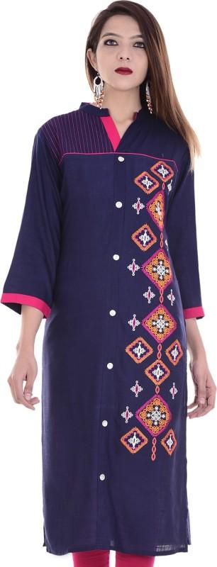 Chichi Embroidered Women's Straight Kurta(Blue)