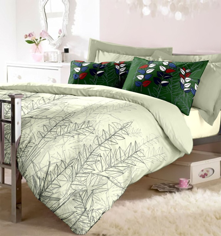 RAYMOND HOME Cotton Double King Abstract Bedsheet(1 Bedsheet with 2 Pillow Covers, Green)