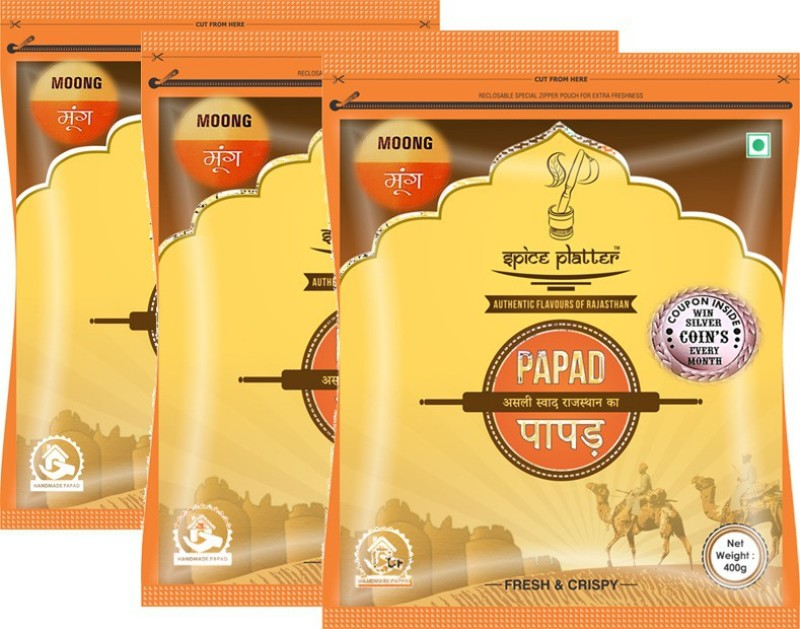 Spice Platter Crispy Moong Papad - Authentic Rajasthani Sajji Papad - Pack of 3 - 400g Each Masala Papad 1200 g(Pack of 3)
