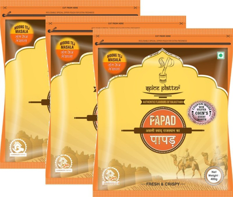 Spice Platter Crispy Moong Tej Masala Papad - Authentic Rajasthani Sajji Papad - Pack of 3 - 400g Each 1200 g(Pack of 3)