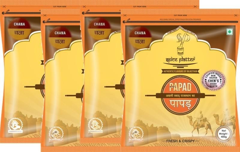 Spice Platter Chana Papad - Authentic Rajasthani sajji Papad - Pack of 4 - 400g each Masala Papad 1600 g(Pack of 4)
