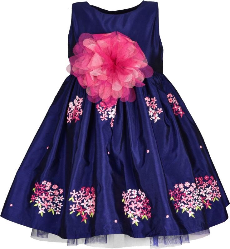 A Little Fable Girls Midi/Knee Length Casual Dress(Dark Blue, Sleeveless)