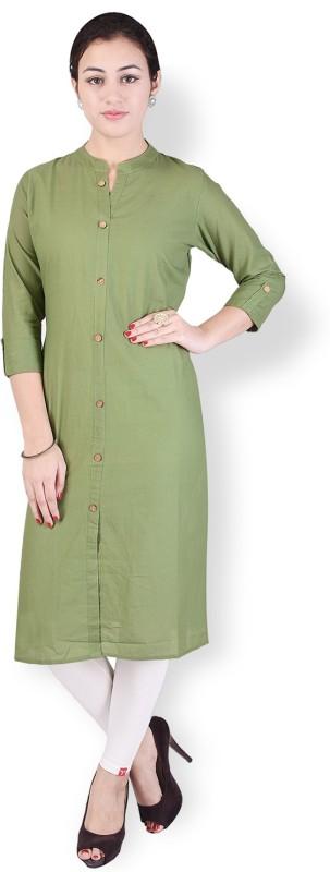 Crazora Solid Women's Straight Kurta(Green)