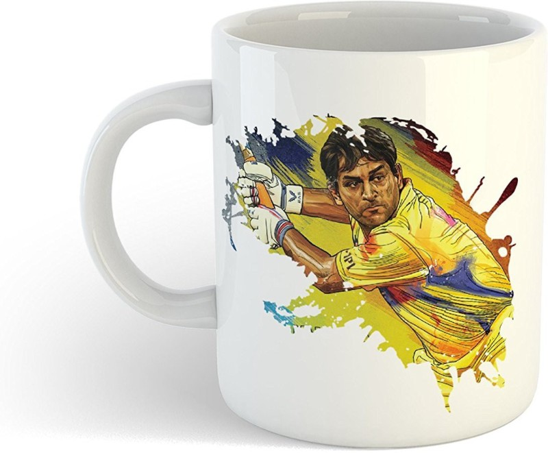 iKraft CoffeeMug Gift for Cricket Fans Indian one of the best wicket-keepers in world and Former India captain Printed Tea Cup Ceramic Mug(350 ml)