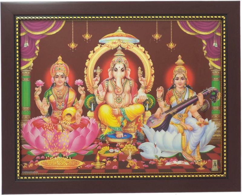 R S Exports Lord Ganesh Lakshmi and Saraswati Photo Frame ( 32.5 cm x 26.5 cm x 1.5 cm ) / Thanksgiving Wall Decorations / pillaiyar vinayagar ganpati ganesh ganesha lakshmi laxmi saraswati saraswathy saraswathi kuber kubera asta ashta Art work for Painti