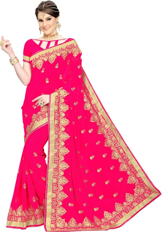 Rudra Fashion Embroidered Bollywood Georgette Saree(Pink)