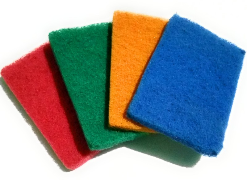 dannu scrub pad for vessels cleaning good color as per stock ( set of 4),thick scrub pad polyster used good for cleaning veseels are use bathroom wash ,tub wash,basin wash Scrub Pad(Regular, Pack of 4)