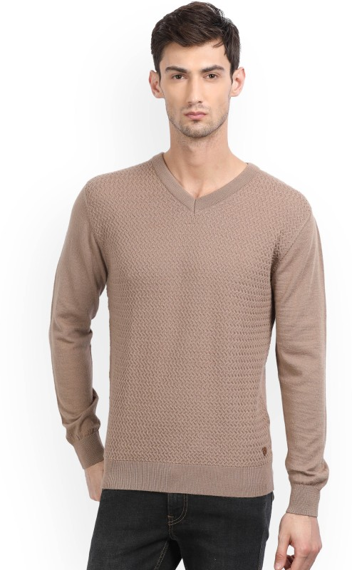 Raymond Solid V-neck Formal Mens Brown Sweater