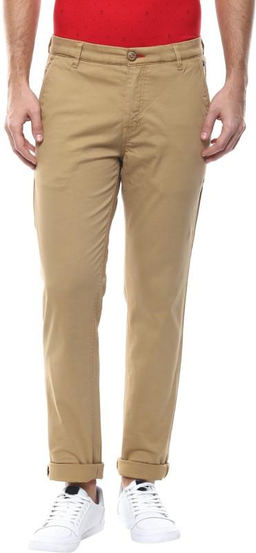 Spykar Slim Fit Mens Beige Trousers