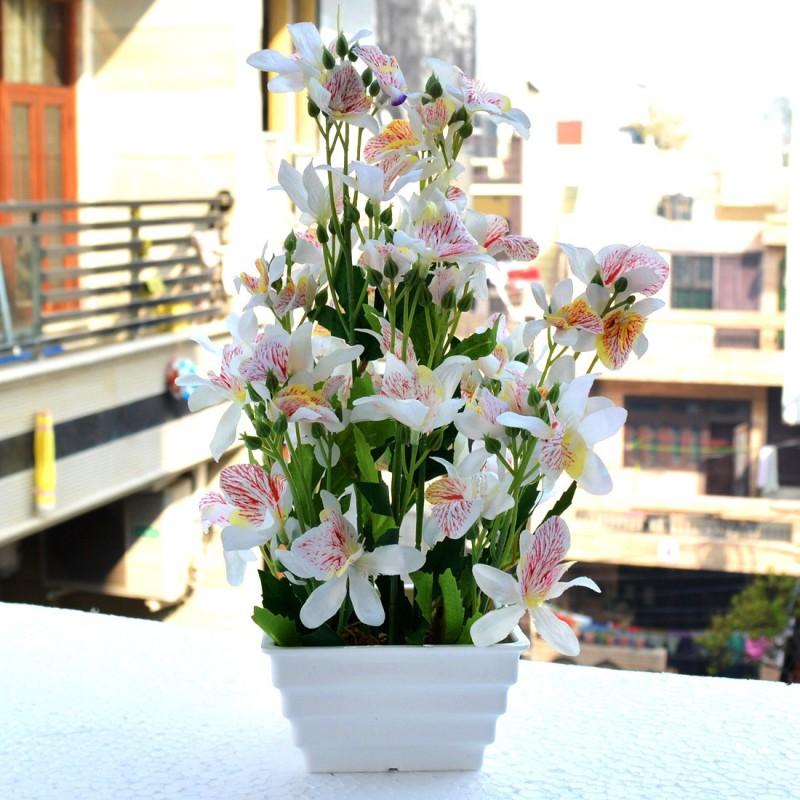 Reiki Crystal Products Green & White Artificial Bonsai Tree Bonsai Artificial Plant...