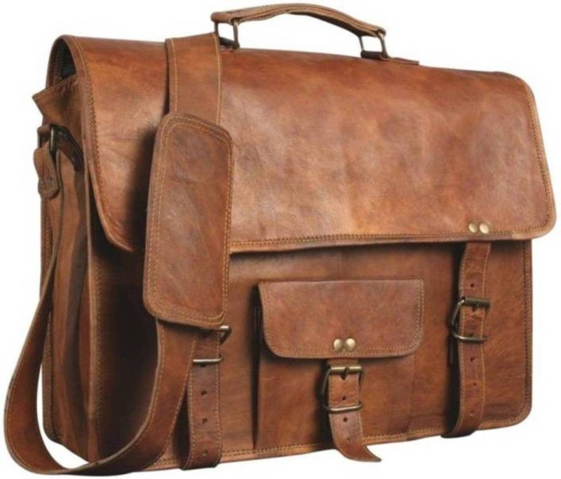 The Leather Bags House SELB14 Medium Briefcase - For Men & Women(Brown)