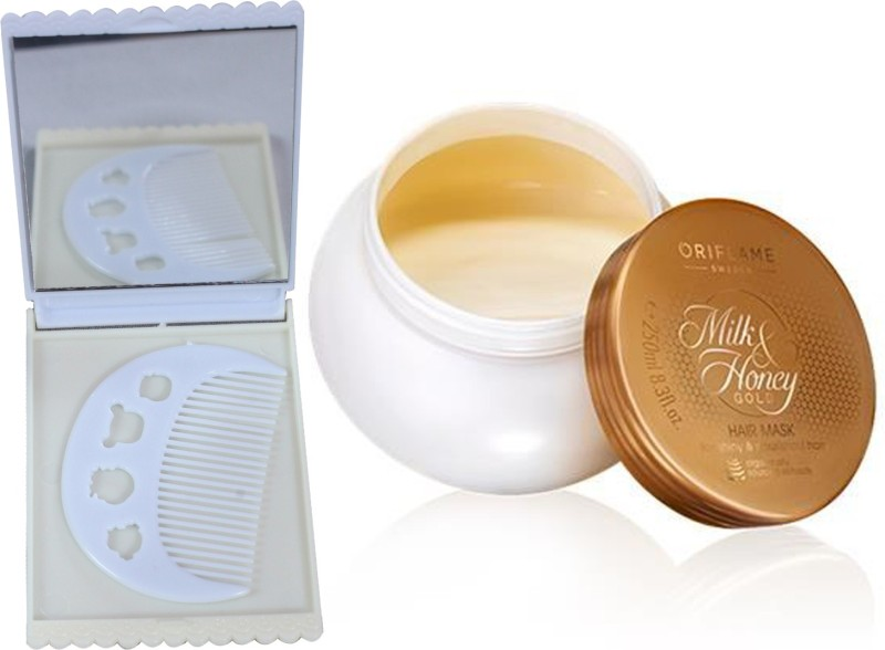 Oriflame Sweden Milk & Honey Gold Hair Mask 250ml (31710) With Comb Mirror Set(Set of 3)