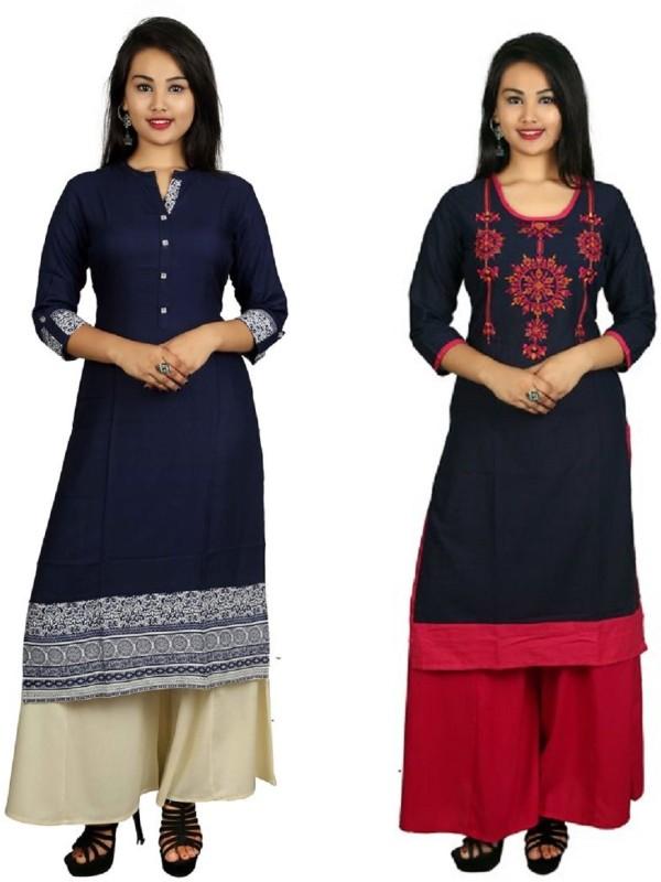 Fashionmandi Casual Embroidered Women's Kurti(Pack of 2, Blue)