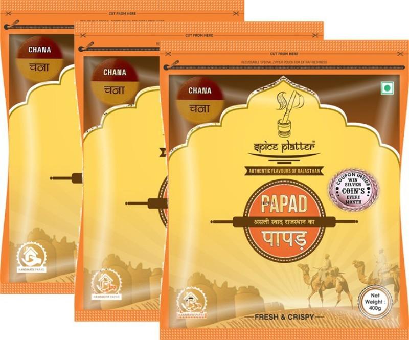 Spice Platter Chana Papad - Authentic Rajasthani sajji Papad - Pack of 3 - 400g each Masala Papad 1200 g(Pack of 3)