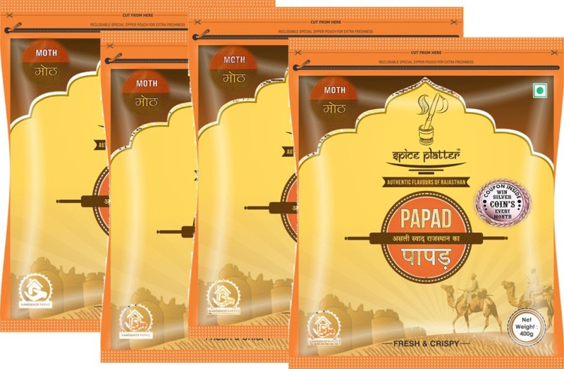 Spice Platter Crispy Moth Papad - Authentic Rajasthani Sajji Papad - Pack of 4 - 400g Each Masala Papad 1600 g(Pack of 4)