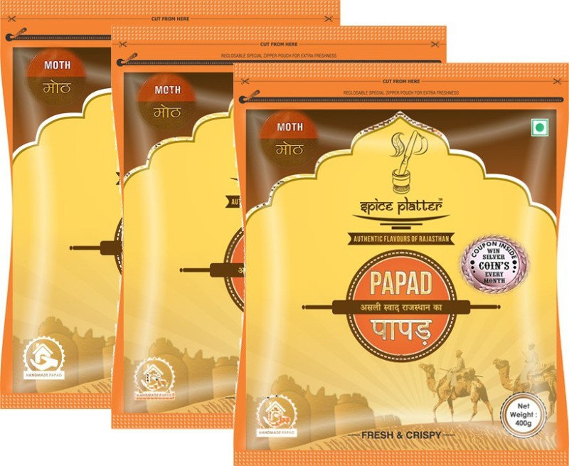 Spice Platter Crispy Moth Papad - Authentic Rajasthani Sajji Papad - Pack of 3 - 400g Each Masala Papad 1200 g(Pack of 3)