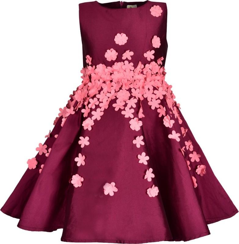 A Little Fable Girls Midi/Knee Length Casual Dress(Maroon, Sleeveless)