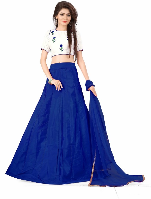 Fabcartz Self Design Lehenga, Choli and Dupatta Set(Blue, White)