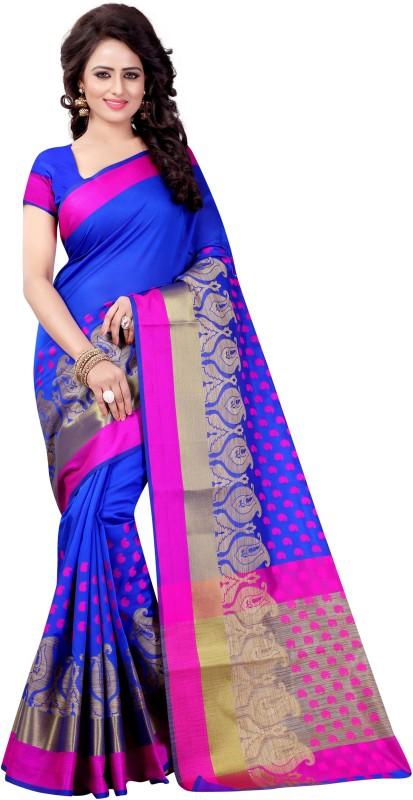 SATYAM WEAVES Paisley Banarasi Polycotton Saree(Blue)
