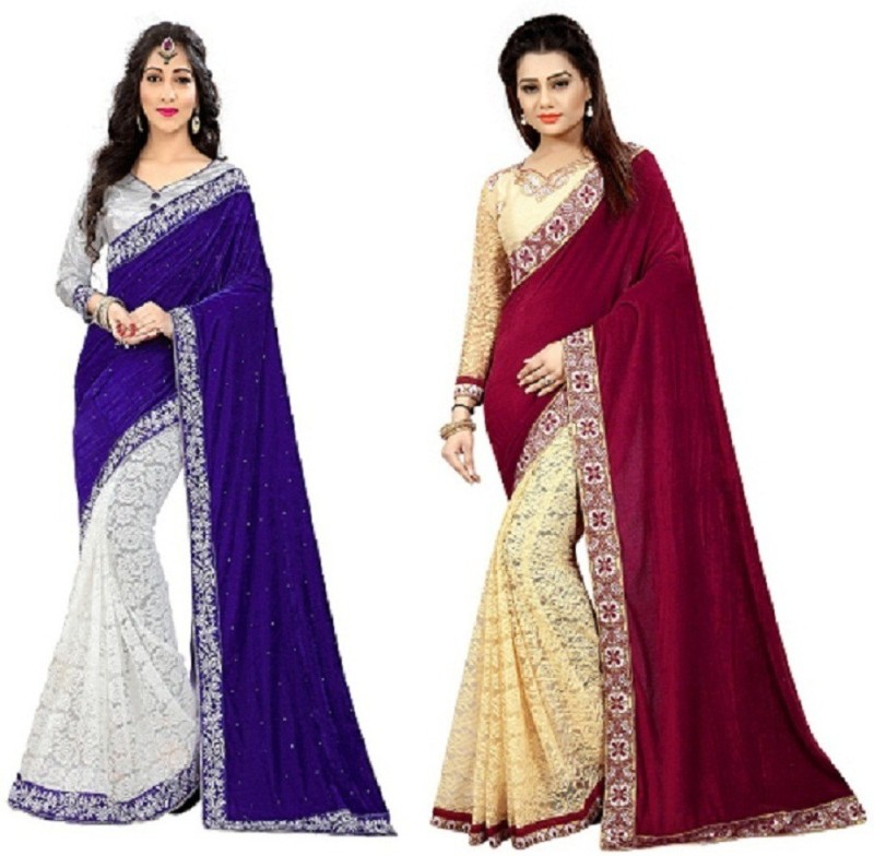 SNH Export Solid Bollywood Velvet, Net Saree(Pack of 2, Blue, Maroon)