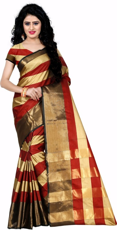 Trendz Style Striped Fashion Tussar Silk Saree(Brown)