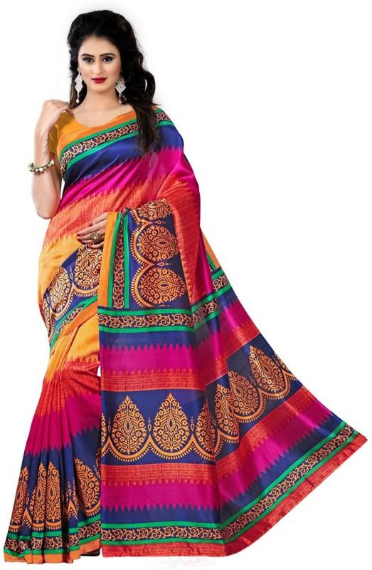 Trendz Style Paisley Bhagalpuri Cotton Linen Blend Saree(Red, Pink, Blue)