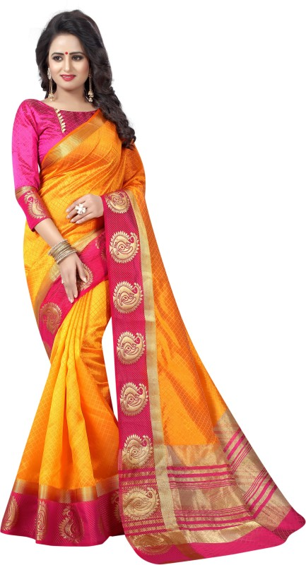 Saarah Self Design Kanjivaram Art Silk Saree(Orange)