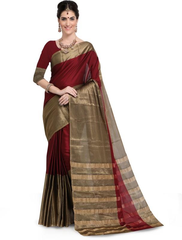 HEENA Printed Kasavu Tussar Silk Saree(Maroon, Gold)