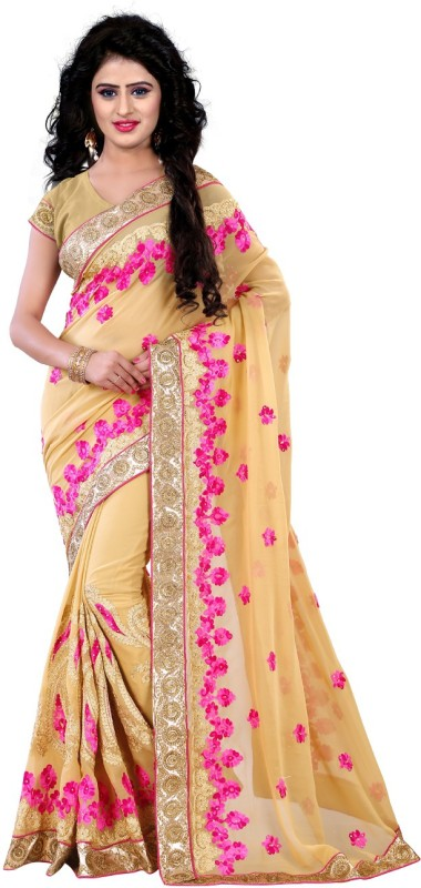 Trendz Style Embroidered, Embellished Fashion Georgette Saree(Pink)