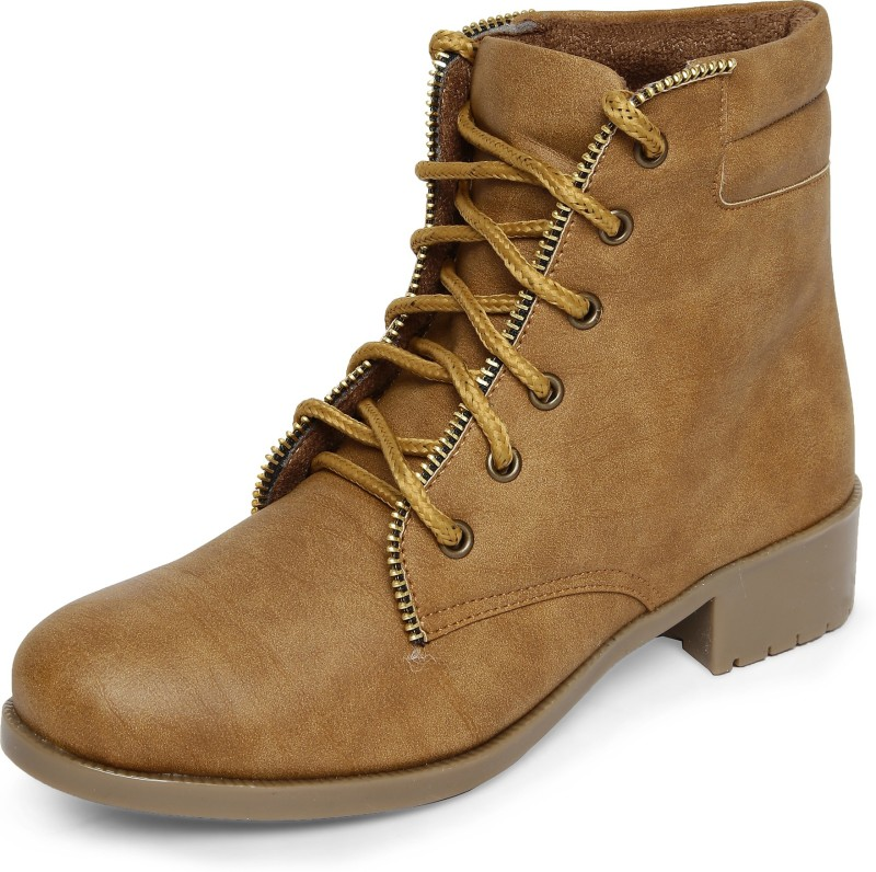 Marc Loire Marc Loire Womens Tan Solid Round Toe Lace up Casual Shoes Boots Flats Boots For Women(Tan)