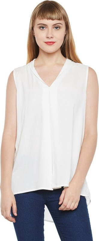 Tom Tailor Casual Sleeveless Solid Women's White Top