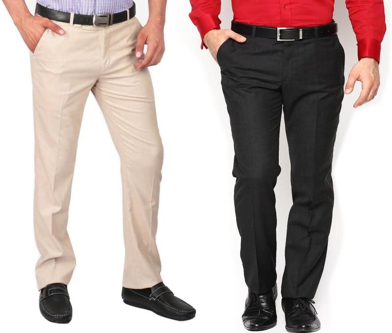 AD & AV Regular Fit Men's Black, Cream Trousers