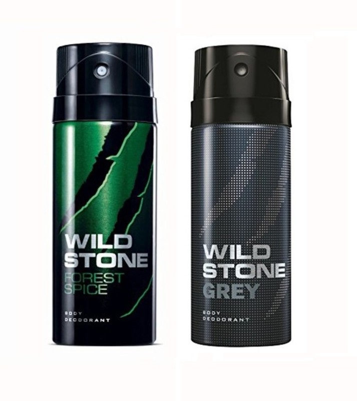Wild Stone Forest Spice And Grey Body Spray - For Men(150 ml, Pack of 2)