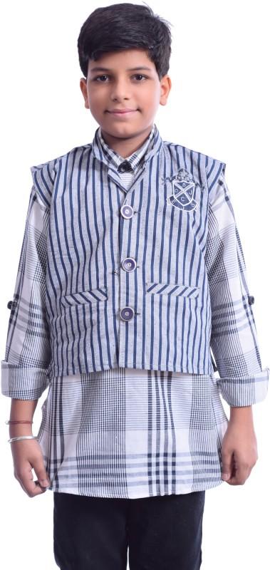 Ennjoy Checkered Boys Pathani Kurta(Grey)
