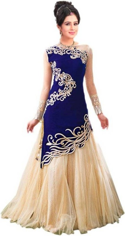 Omstar Fashion Self Design Lehenga Choli(Blue)