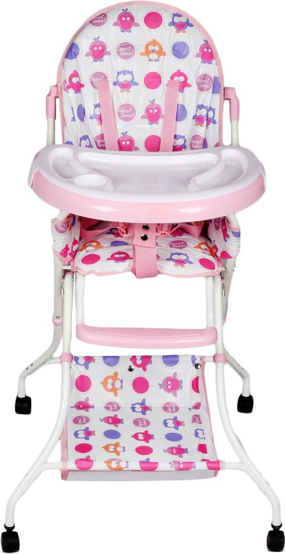 Continental Foladable High Chair , Baby Dining Chair with wheel- Pink ( Model-8013 )(Pink)