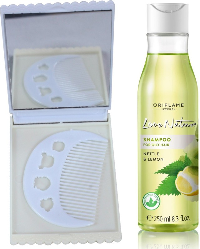 Oriflame Sweden Love Nature Shampoo for Oily hair with Nettle & Lemon 250ml (32625) With Comb Mirror Set(Set of 3)