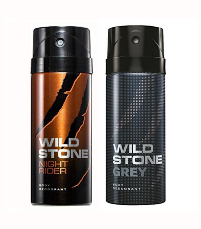 Wild Stone Night Rider And Grey Body Spray - For Men(150 ml, Pack of 2)